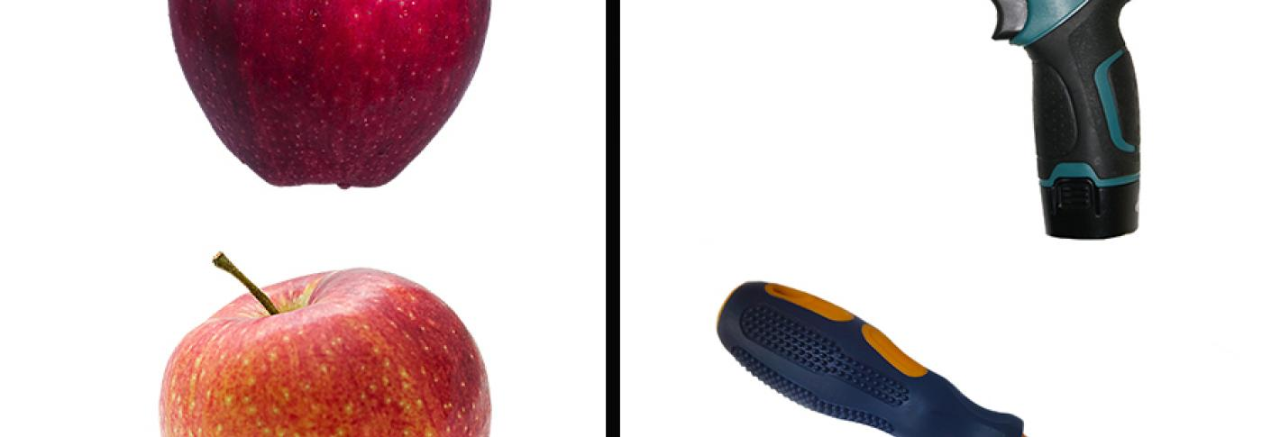 Image shows two similar looking apples on one side and a drill and screwdriver on the other side