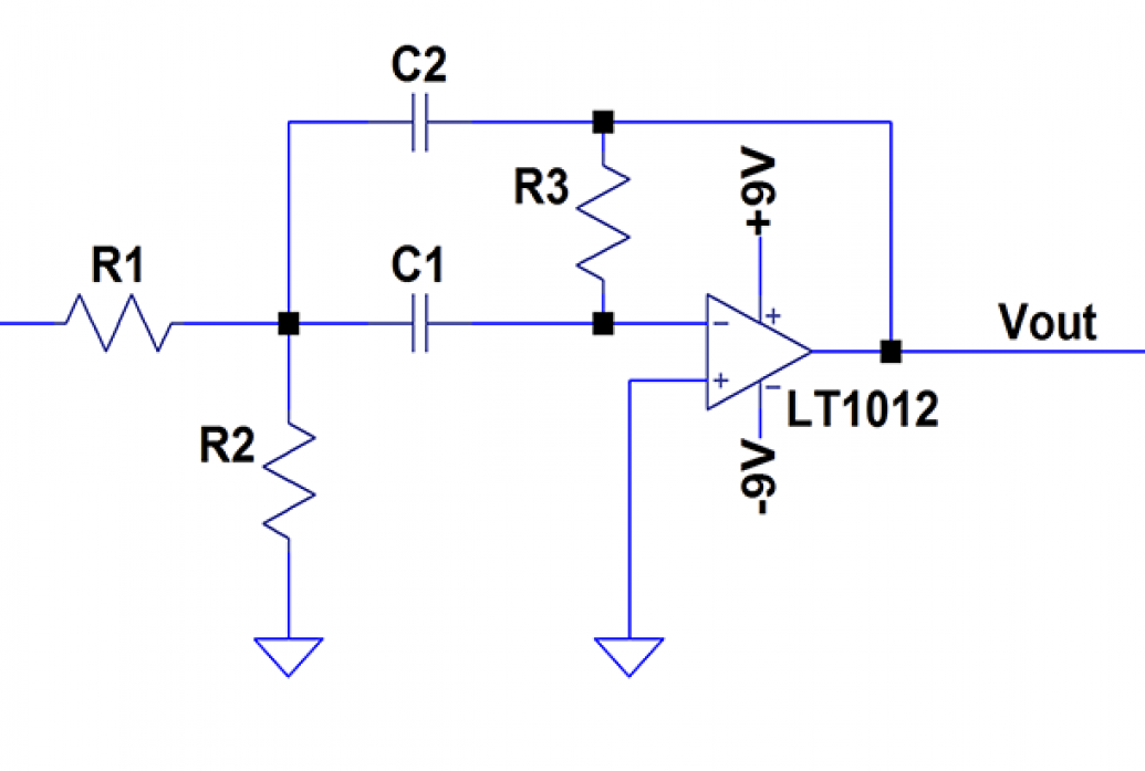 A circuit diagram of the bandpass filter for feedback