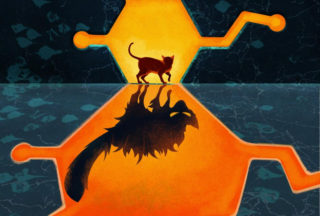 An illustration shows a cat within a dopamine molecule reflected as a scary large cat in a larger dopamine molecule