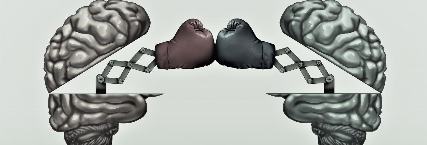 two brains open up to reveal punching bags aimed at eachother