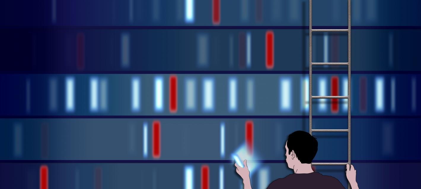 A man on a ladder picks a colored bar off a wall of colored bars. The colored bars represent DNA