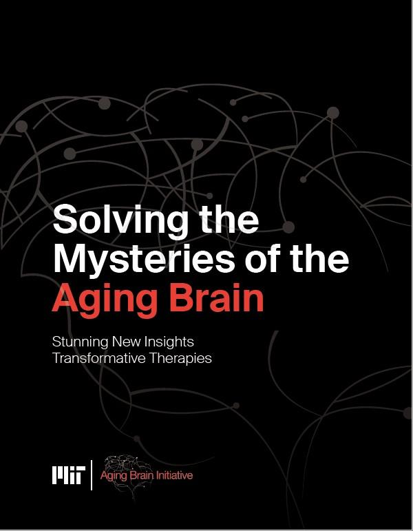 "Black brochure cover says ""Solving the Mysteries of the Aging Brain"""