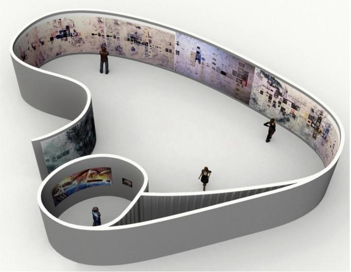 A rendering of an art installation shaped like the limbic system shows people viewing the paintings within