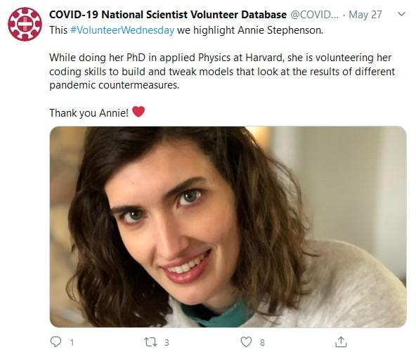 A Tweet feature Annie Stepenson. It includes her portrait and says she is volunteering to do computer modeling of pandemic countermeasures.