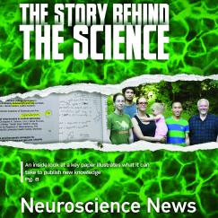 "The newsletter cover says ""The Story Behind the Science"" and shows an image of cells torn through the middle to reveal pictures of notes and the researchers."
