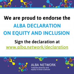 "A colorful digital placquard says ""We are Proud to Endorse the ALBA Declaration on Equity and Inclusion. Sign the declaration at www.alba.network/declaration"""