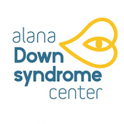 "Center logo says ""Alana Down Syndrome Center"" in blue text with a yellow heart that has an embedded eye"