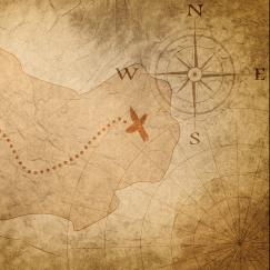 A tan colored treasure map features an island with a dotted line leading to a red X