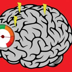 a cartoon brain with a gauge showing that it is full
