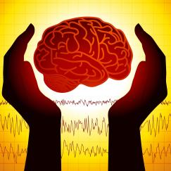 A cartoon of the brain held in hands over a background of brainwaves