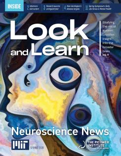 Newsletter cover features a colorful painting of a face in profile with large eyes floating around