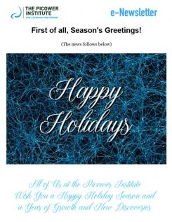 The institute holiday card, a pretty web of newly grown, light blue neurons against a black backround, is the top image.