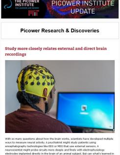 Newsletter screenshot shows header and main image of man in EEG cap