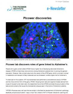 Jun 2018 enews screenshot showing lead story on APOE4 gene