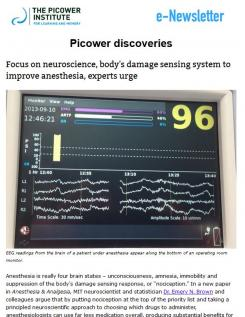 Screenshot of the October 2018 newsletter shows an operating room monitor with EEG readings