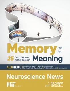 "Fall 2019 Newsletter cover says ""Memory and its Meaning"" and shows an art installation in the looping shape of the limbic system"