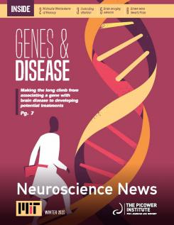 "Newsletter cover says ""Genes & Disease"" and depcits a cartoon of a man walking up a DNA double helix"