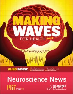 Newsletter cover shows a cartoon brain in someone's hands with waves beneath
